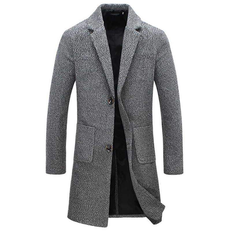 Autunno Inverno New Fashion Marchio di abbigliamento da uomo Trend Giacca Cappotto di lana Uomo Slim Fit Peacoat Lana e miscele Inverno Long Men Coat 5XL