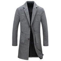 Autumn Winter New Fashion Brand Men's Clothes Trend Jacket Wool Coat Men Slim Fit Peacoat Wool & Blends Winter Long Men Coat 5XL