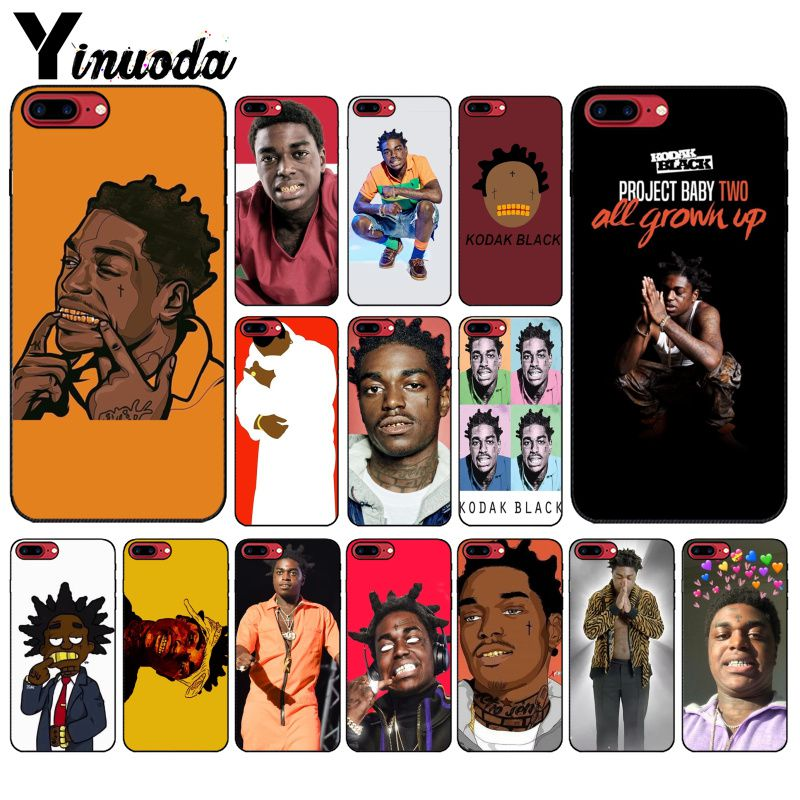 Yinuoda Kodak Black Rapper Soft Silicone black Phone Case for Apple iPhone 8 7 6 6S Plus X XS MAX 5 5S SE XR Cellphones-in Half-wrapped Cases from Cellphones & Telecommunications