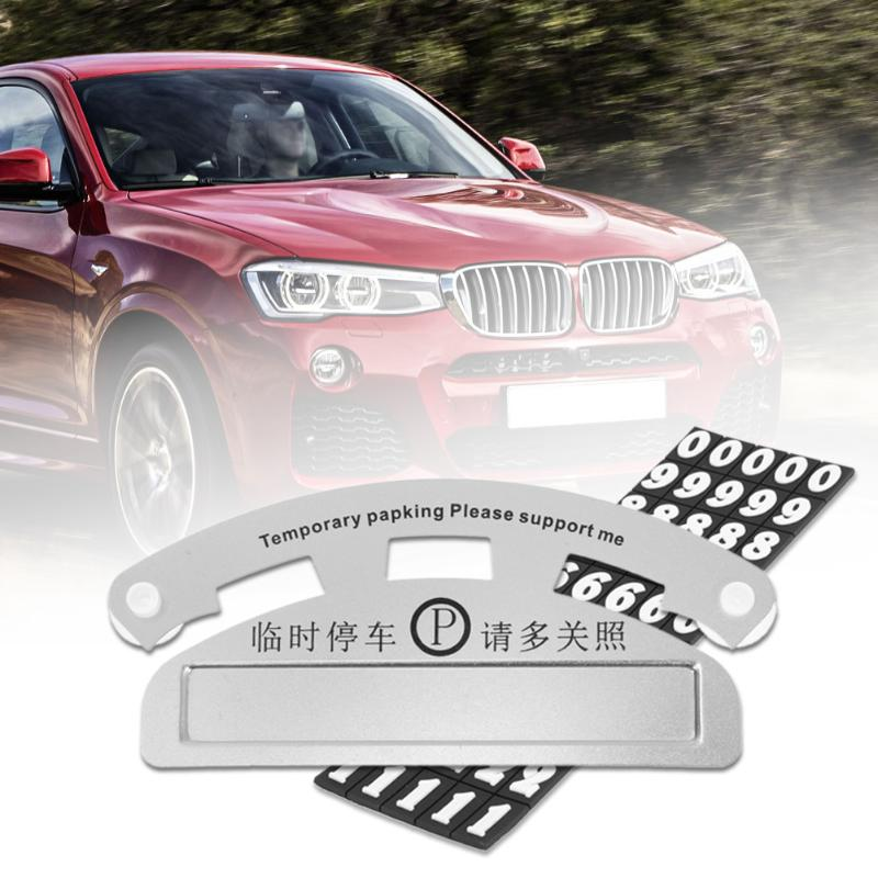 1Pcs Aluminum Car Temporary Parking Card Calling Phone Number Sucker Plate With Suckers Car Styling Phone Number Card Hot Sale