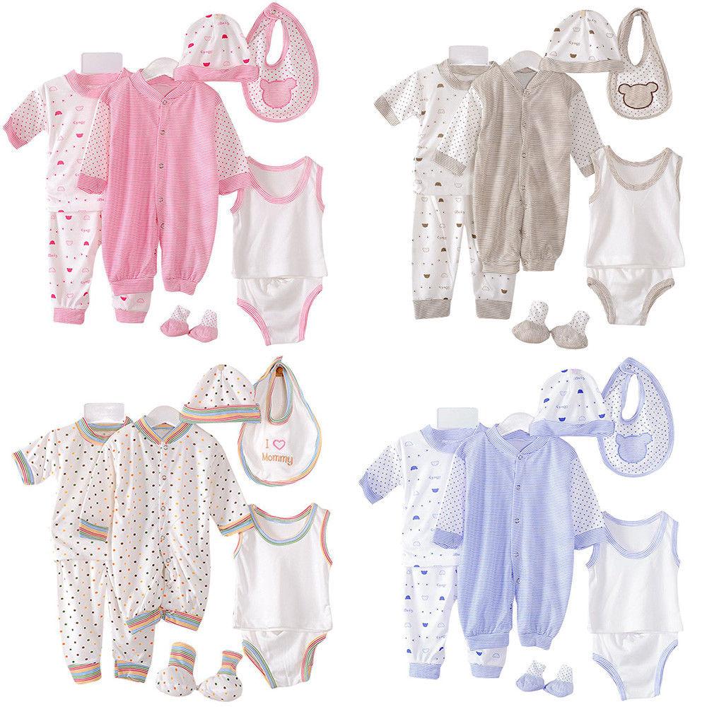 8 шт./комплект, футболка и штаны для новорожденных, на возраст 0-3 месяцев