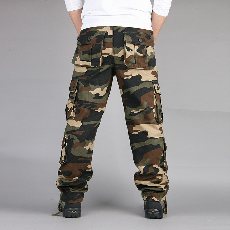 Pocket MILITARY Style Army Camouflage CARGO PANTS Men TACTICAL 6789cmAirborne Jeans Trouser Male Casual Plus Size Cotton baggy#3 25