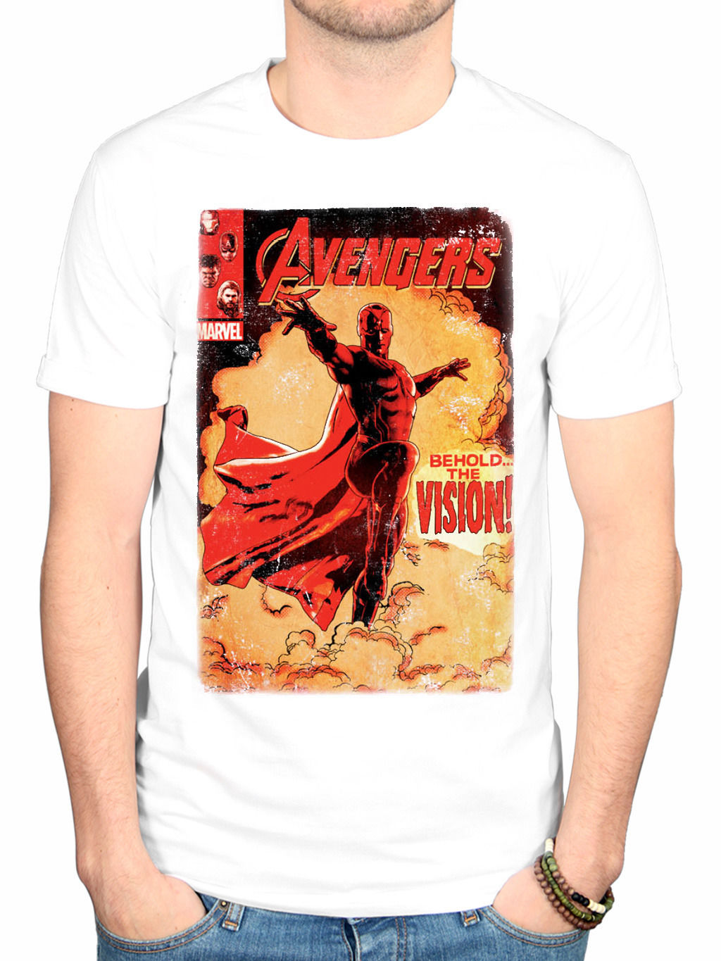 Official AVENGERS AGE OF ULTRON VISIONE COPERTURA T-SHIRT NUOVO Merchandise