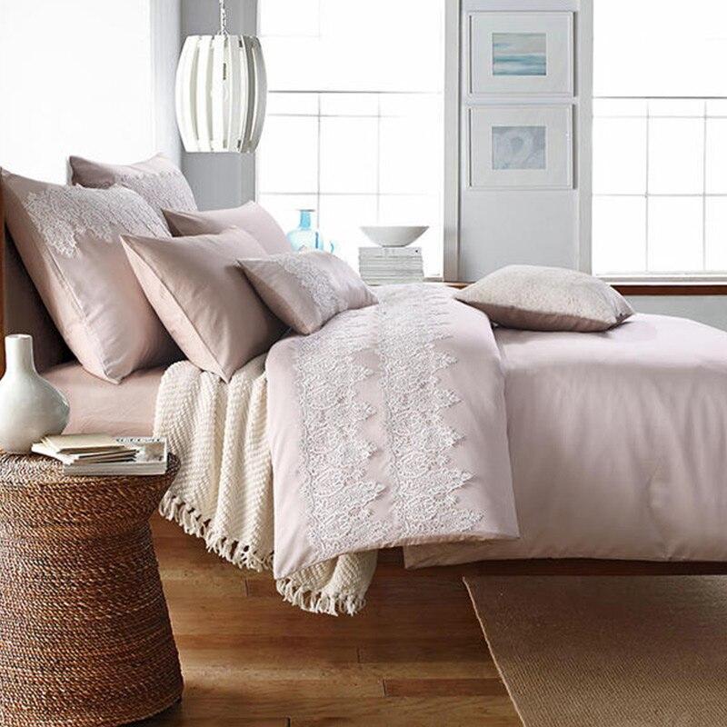 RUIYEE 4 pcs 100% Satin De Coton ensemble de lit De Luxe ensembles de literie de mariage Rose couleur avec grand lacet housses de couette reine king size linge