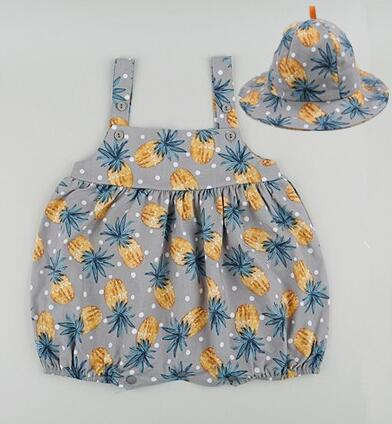 Cute Cotton Print Infant Boys Jumpsuit Baby Girl Romper + Bucket Hat Baby Clothing for 6-24 Months Gray/Pink baby clothing summer infant newborn baby romper short sleeve girl boys jumpsuit new born baby clothes