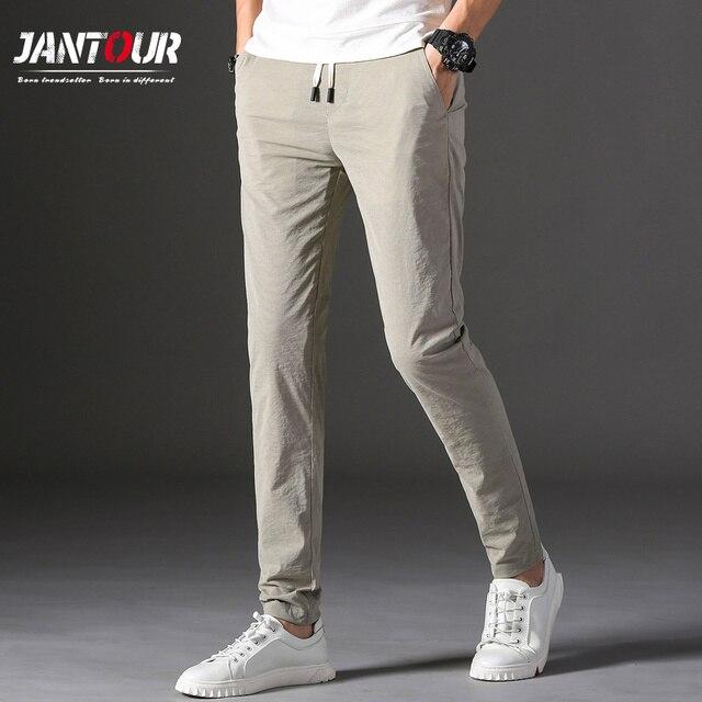 Brands Men pants 2020 New Design Casual hombres pantalones Cotton Slim Pant male Trousers Fashion Business Tie Pants Man 37