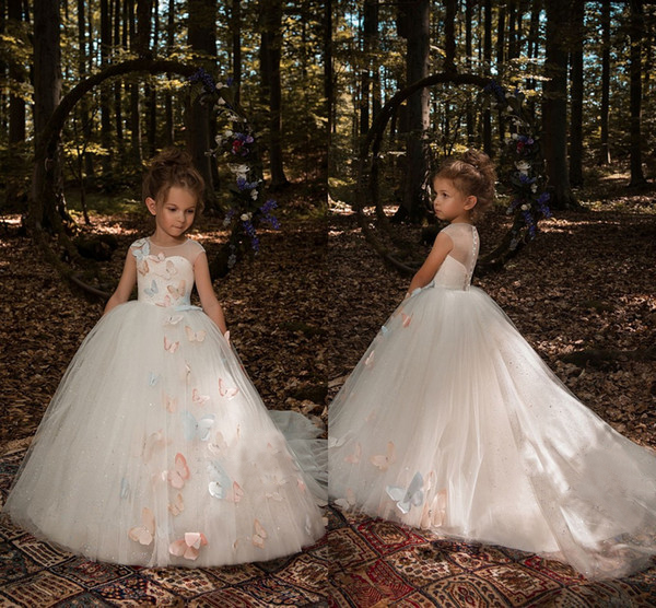 Flower     Girls     Dresses   2019 Ivory Cute 3D Butterfly Floral Appliques Cap Sleeve Ball Gown Tulle Little   Girls   Pageant   Dresses   Train