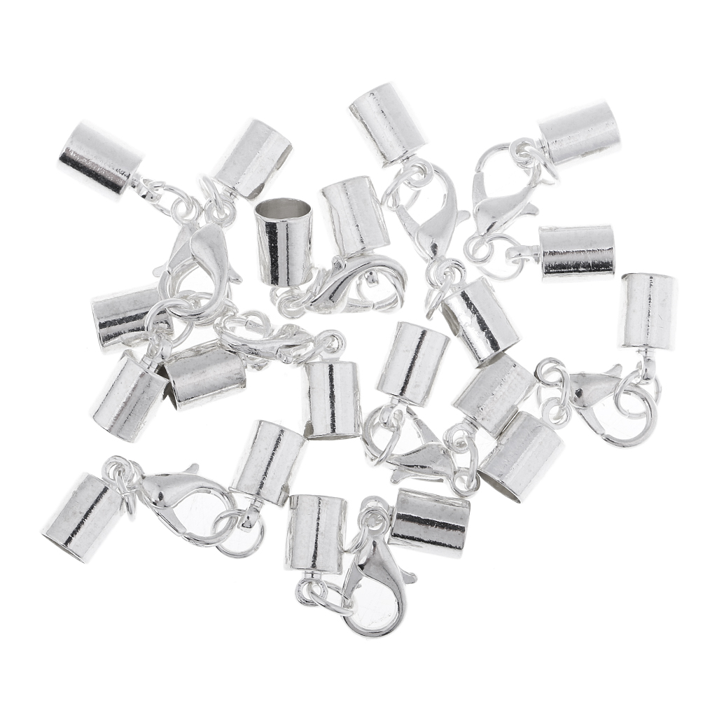 8pcs White K plated leather cord kumihimo end caps tips lobster clasps 5.5mm crimp ends Beads & Jewellelry Making Supplies