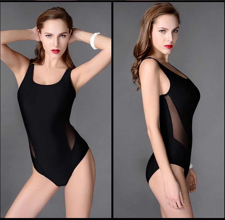 Trikini One Piece Professional Female Swimwear Sports Swimsuit Racing Competition Sexy Black Tight Bodysuit Bathing Suit 10