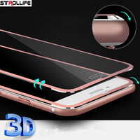 STROLLIFE Luxury 3D Full Cover Aluminum Alloy Front Screen Protector Tempered glass Case For iPhone 8Plus Screen Protective Film