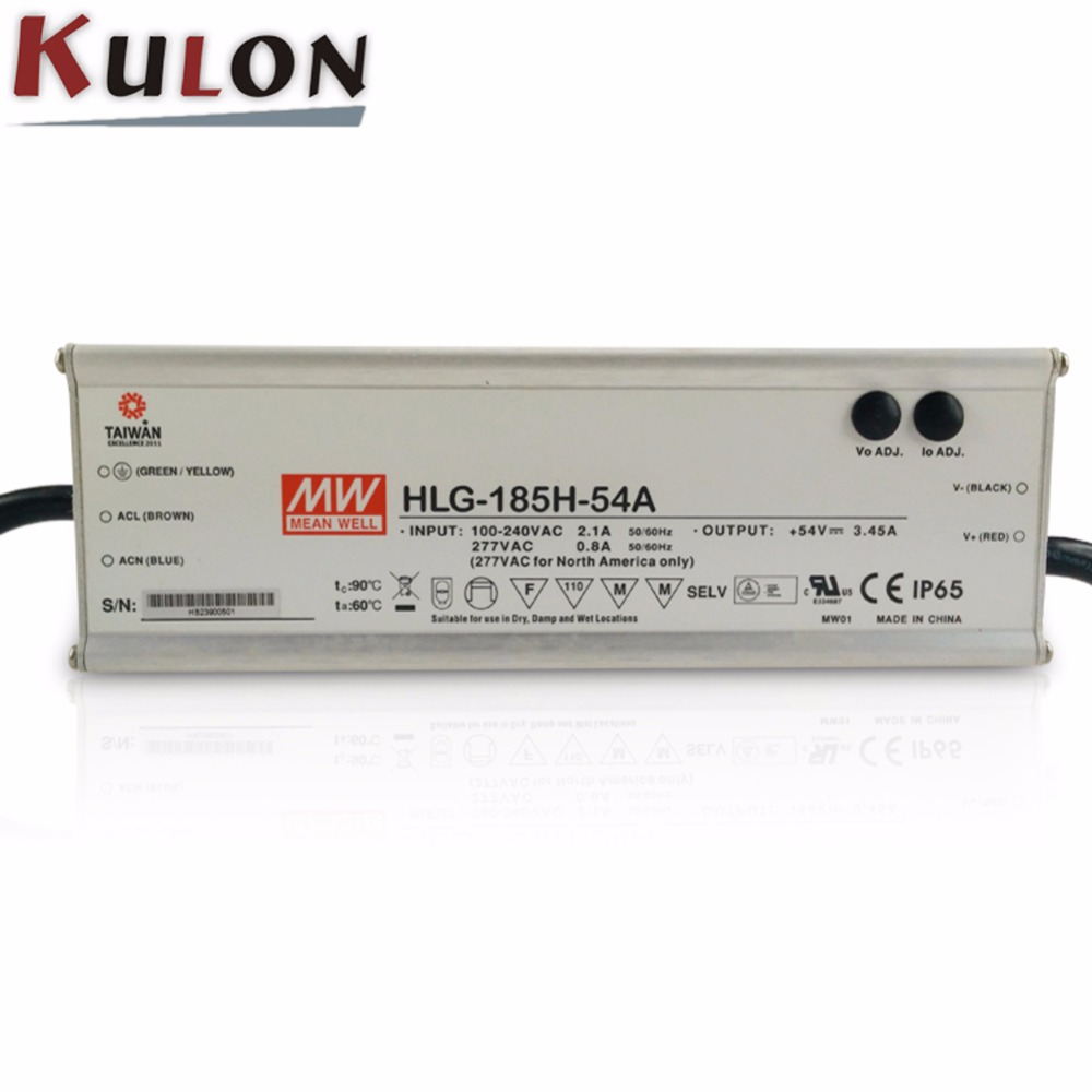 Original MEAN WELL HLG-185H-54A 185W 3.45A 54V meanwell adjustable Power Supply IP65 waterproof led driver with PFC functionOriginal MEAN WELL HLG-185H-54A 185W 3.45A 54V meanwell adjustable Power Supply IP65 waterproof led driver with PFC function