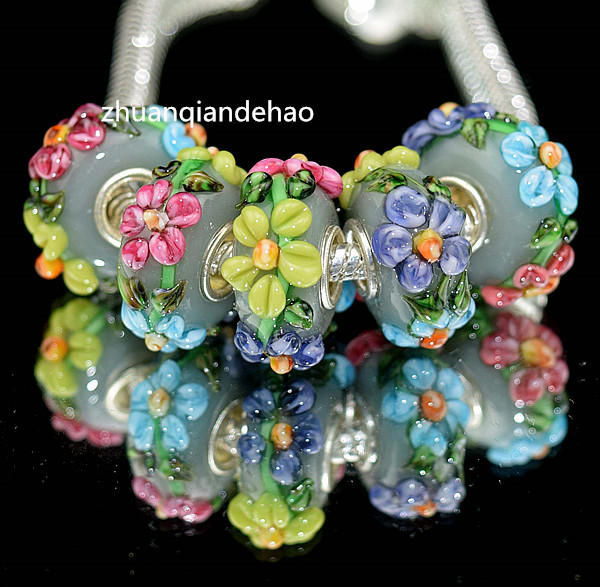DYI 5P Flowers Painting Series Silver Bizhenhua GLASS BEAD fit dora European Bracelet & Necklaces