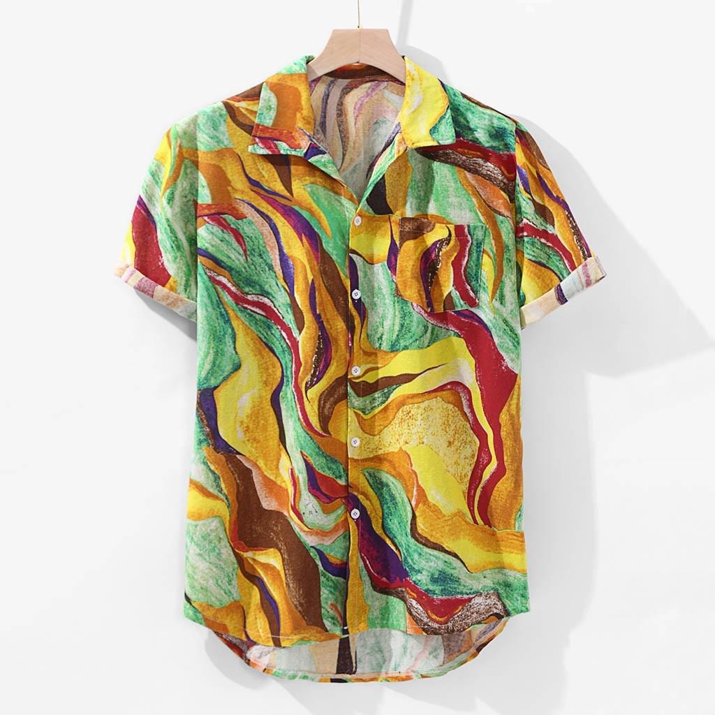 Summer Men's Shirts Blouse Hawaiian Print Pocket Linen Short Sleeve Beach Round Hem Loose Men Dress Shirts Tops Camisas Hombre