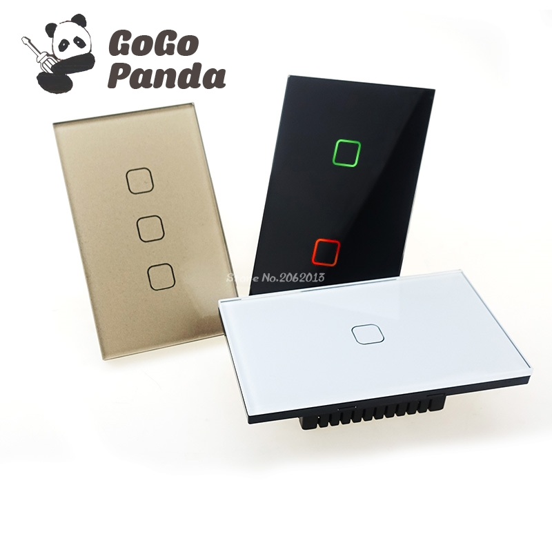 Free Shipping US Standard 1 Gang 2 Gang 3 Gang 1 Way Wall Light Controler Smart Home Automation Touch Switch 4 Colors ...