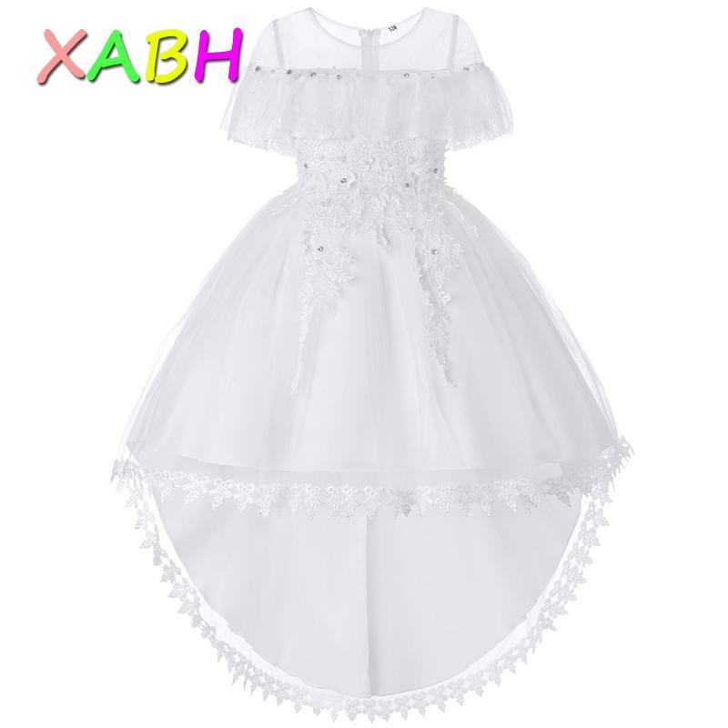 XABH Elegant Princess Dress Prom Party Flower Girl Dresses Vestido Chicas Sleeveless Dress Teenage Tutu Costume Kids Clothing 8T