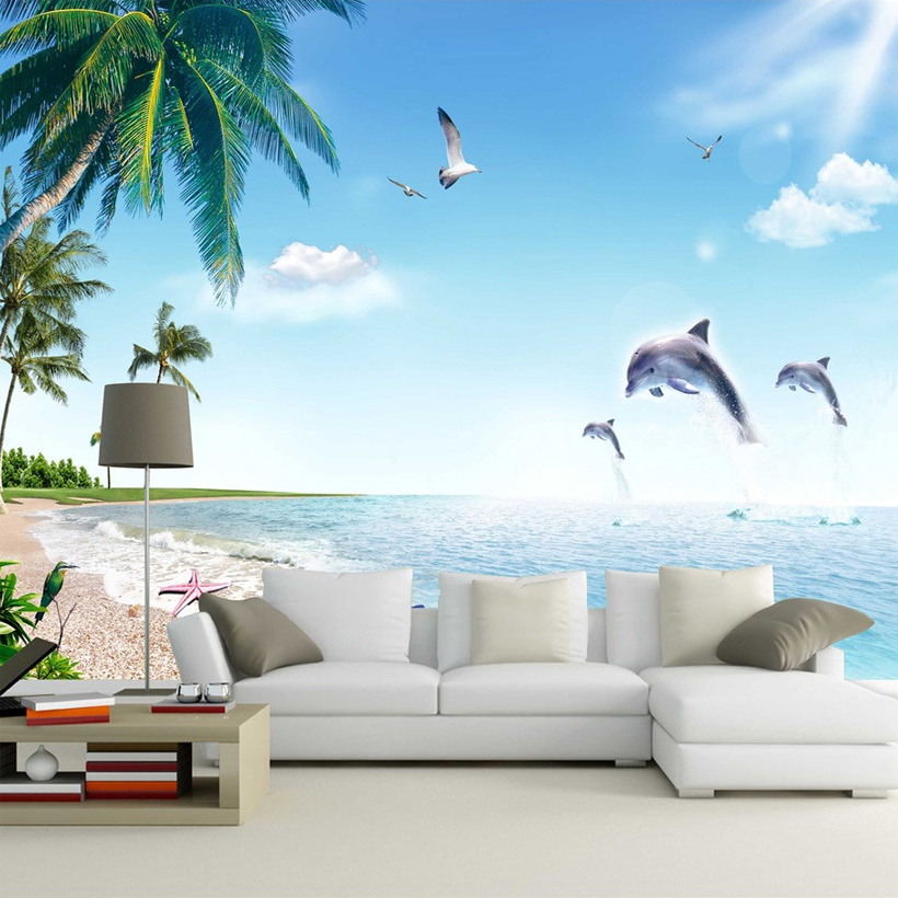 Custom wall mural wallpaper 3d landscape seaside scenery for Dolphin mural wallpaper