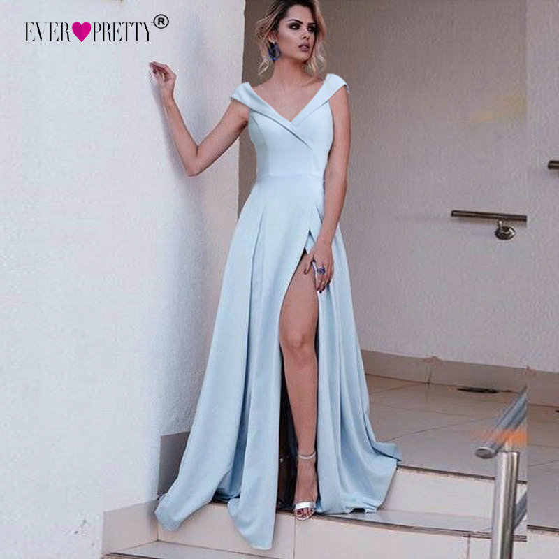 Sexy V-Neck Evening Dresses Ever Pretty EP07203 Elegant Evening Dresses With Cap Sleeves Women High Splits Party Dresses 2019