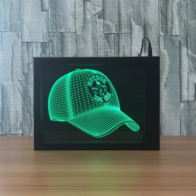 Creativo USB 7 luz Colorida MLB Boston Red Sox 3D Marco De Luz De ...