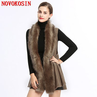 SC225 2018 Autumn Women Faux Fox Fur Neck Slim Cardigan Thick Coat Winter Warm Knitted Plus Size Poncho Open Stitch Grey Vest
