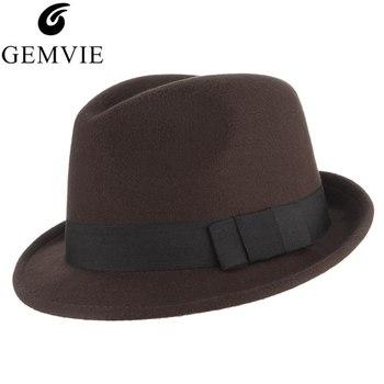 2d6617d3de09 Gorro de fieltro cálido con cinturón mujeres invierno Vintage sombreros  Trilby hombres otoño Panamá ...