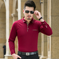2016 Poloshirt Men Autumn New Arrival Solid Quality Men Polo Plus Size Long Sleeve Turn Down Collar Business Polo Men Tops 4XL-M