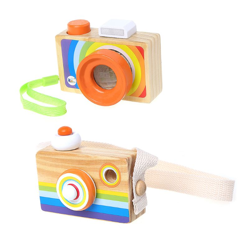 1 Pc Wooden Mini Camera Kaleidoscope Toys Children Kids