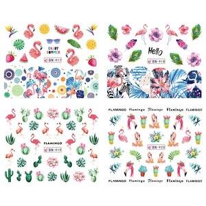 Image 3 - 12 デザインフラミンゴネイルステッカー水花緑色植物スライダー装飾ネイルアートラップマニキュアヒント BEBN913 924