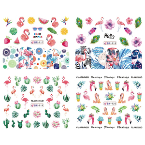 Image 3 - 12 Design Flamingo Nail Sticker Water Decals Flowers Green Plants Sliders Decorations Nail Art Wraps Manicure Tips BEBN913 924