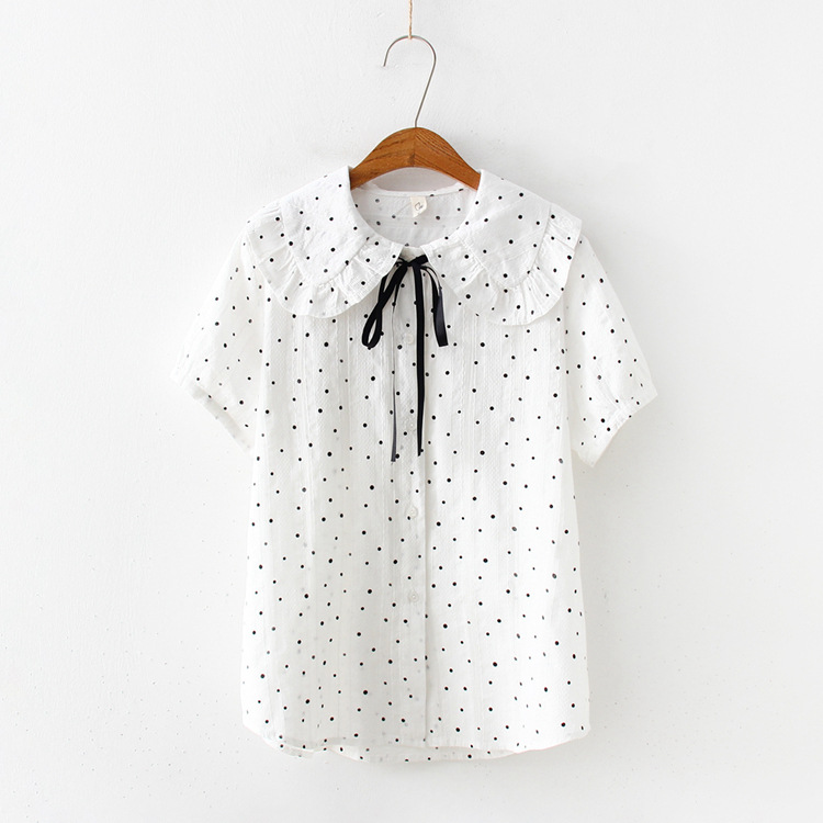 KYQIAO blusas mulher elegantes mori girls summer Japanese style fresh kawaii peter pan collar white polka dots   blouse     shirt
