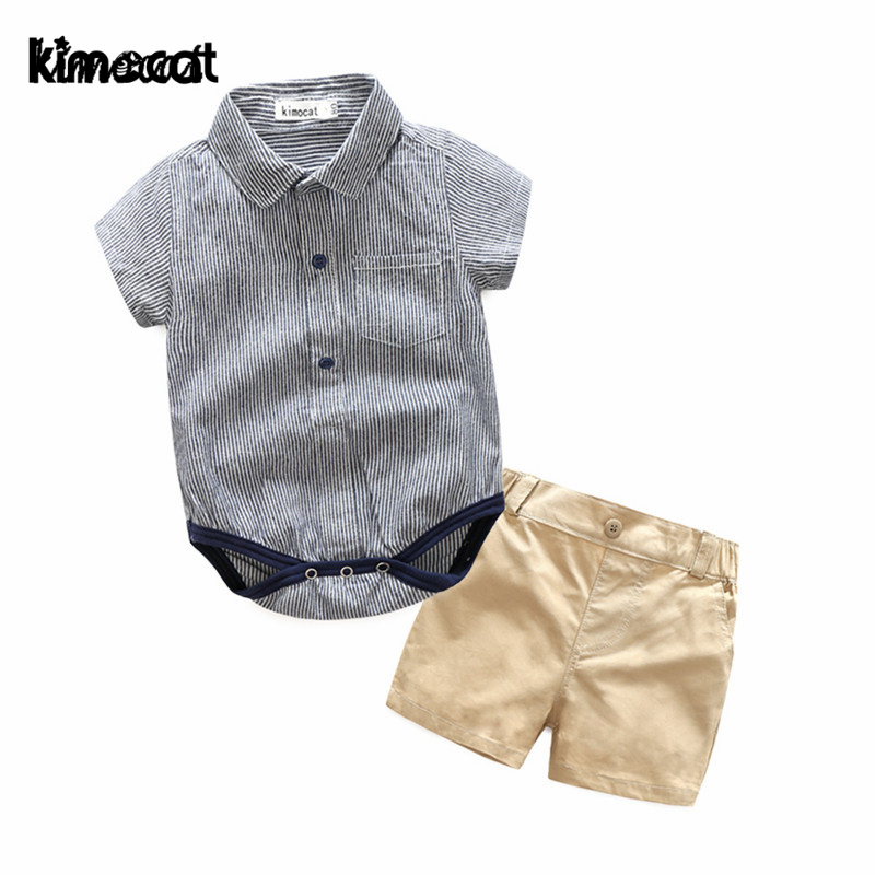 Kimocat Summer Baby Boys Sets Short Sleeve 2pcs Shirt+Pants Cotton College boy gentleman Kids Boy Clothes Clothing