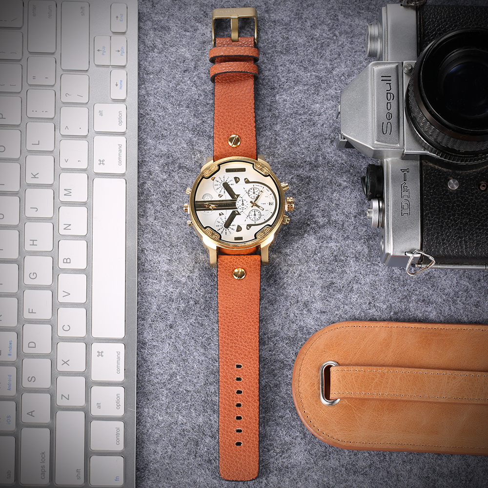 2019 drop shipping top luxury brand cagarny mens watches leather strap big case gold black silver dz military Relogio Masculino male clock man hour (40)