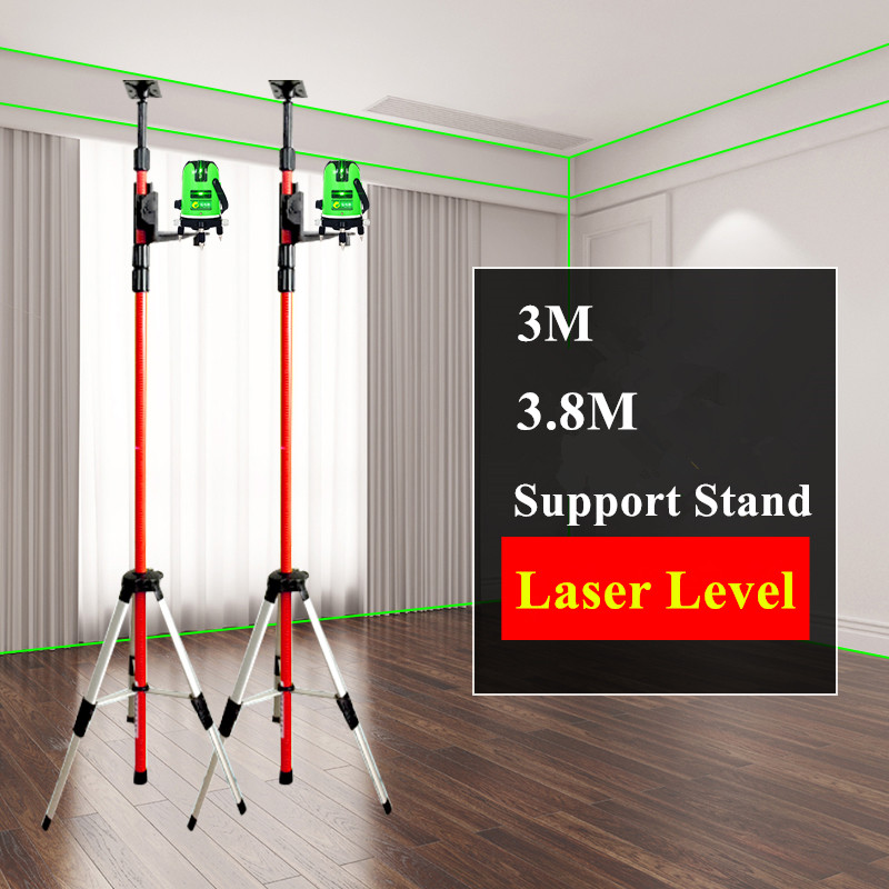 2019 New 5/8 and 1/4 Interface Extend Bracket Elongation Maximum 3.0M or 3.8M Support Stand for Laser Level