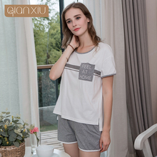 afdf012385 2018 Summer Brand homewear Female Casual pajama sets Women O-neck collar  short sleeve white