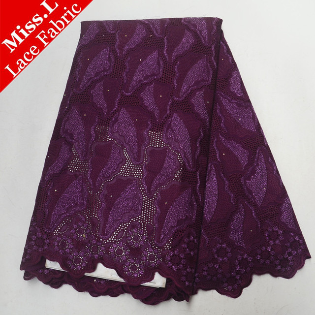 Miss L African Lace Fabric With 100% Cotton 5 Yards Swiss Voile Lace In Switzerland With Stones High Quality For Wedding Dress