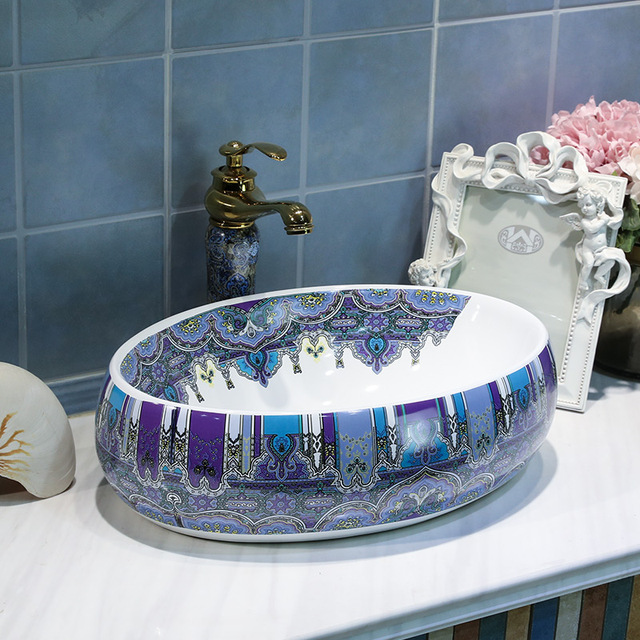 Oval Jingdezhen Bathroom Sink Bowl Ceramic Chinese Wash Basin Porcelain Counter Top Small