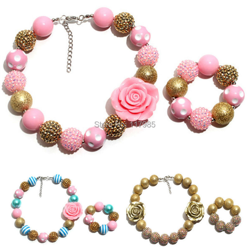 Vcmart Girls Vintage PINK GOLDEN Flower Necklace Bracelet Kis