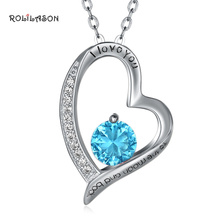 купить Blue Heart Shaped 925 Sterling Silver Zircon Necklace Pendant Fashion Trend SP79 по цене 802.42 рублей
