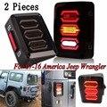 Черный СВЕТОДИОДНЫЕ Задние Фонари с Заднего Сигнал Обратный Лампа Для Jeep Wrangler Jk 2007-2016 (пара)