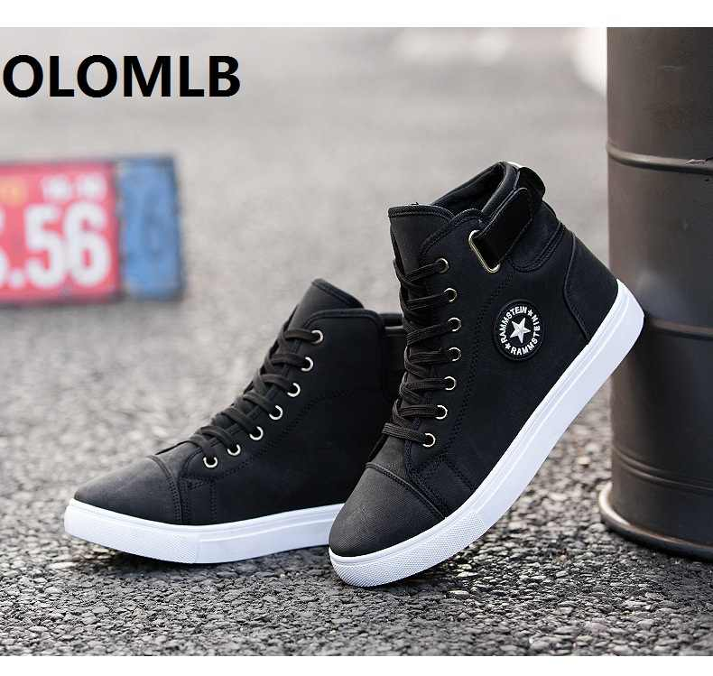 Men Shoes High Top Casual Flat Lace up