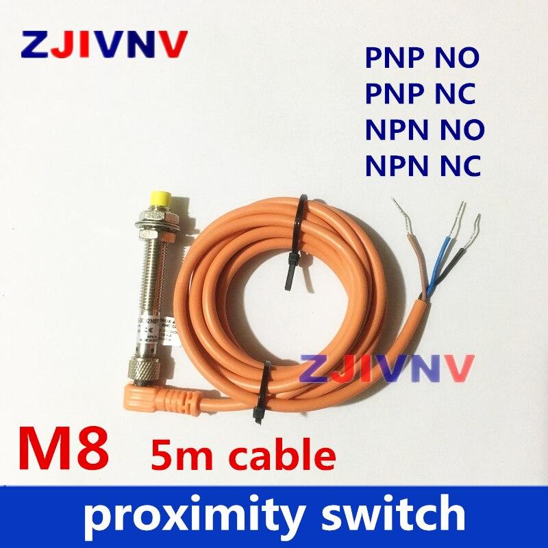 5PCS M8 Connector type proximity switch normally open close inductive sensor PNP NPN NC NO DC