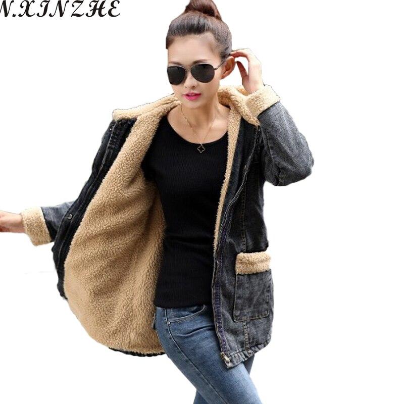 N.XINZHE Autumn Denim <font><b>Jacket</b></font> 2017 Winter Long Coat Women lambswool Hooded jeans <font><b>Jackets</b></font> Zipper Warm Jeans Coat Parkas Plus Size