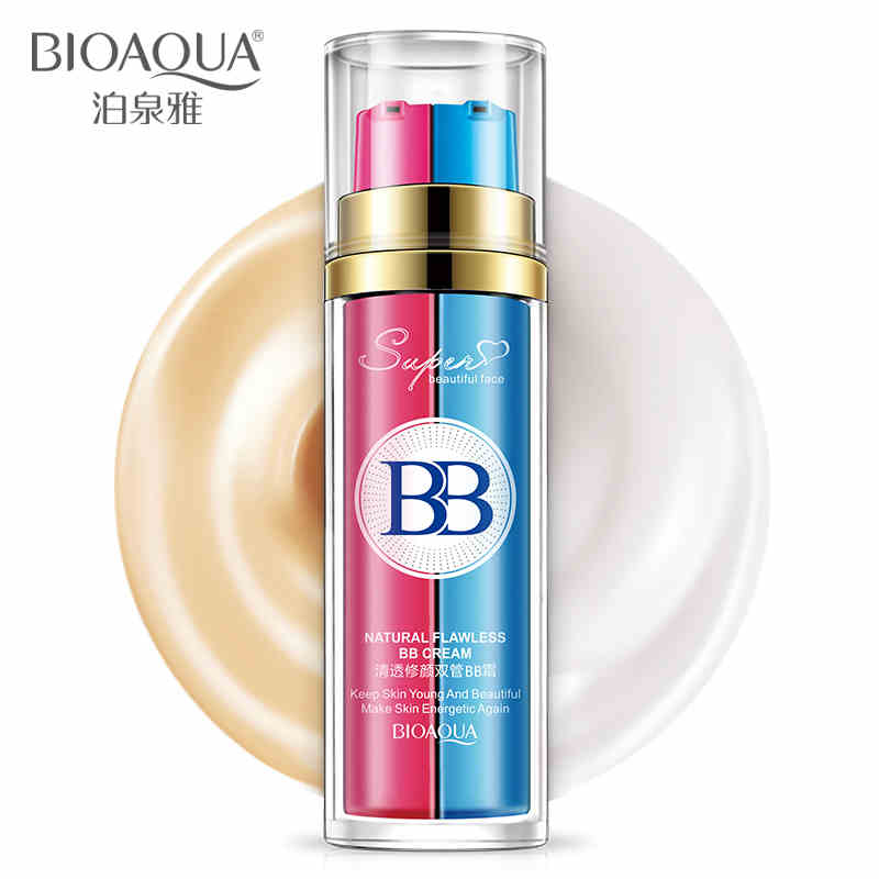 BIOAQUA New Arrival Pink and blue double tubes BB cream new design CC cream Perfect Cover Blemish Makeup Cosmetic Foundation image