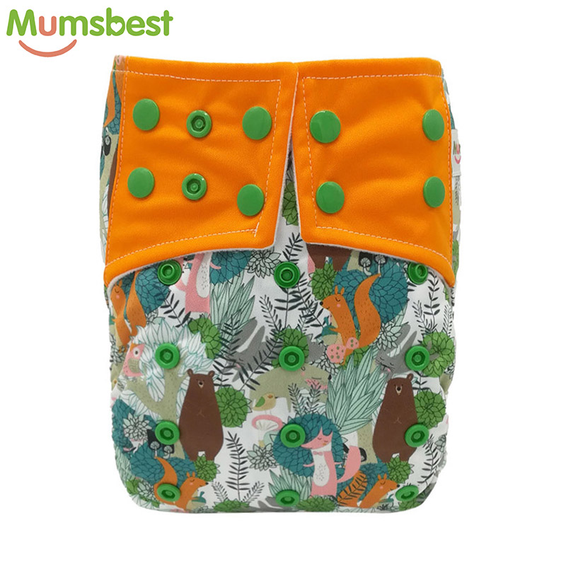 [Mumsbest] 1Pc Baby Cloth Diaper Pocket Washable Baby Nappy Carton Fox  Reusable  Nappies Waterproof Pocket Diapers Suit 3-15kg