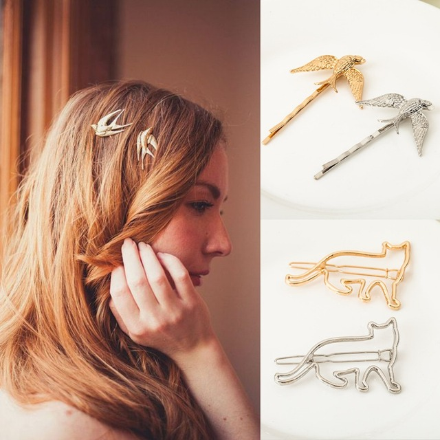 Beaucoup de types animaux renard dieu chat cygne cerf oiseaux etc or argent métallique pinces à cheveux et épingles femmes cheveux bijoux