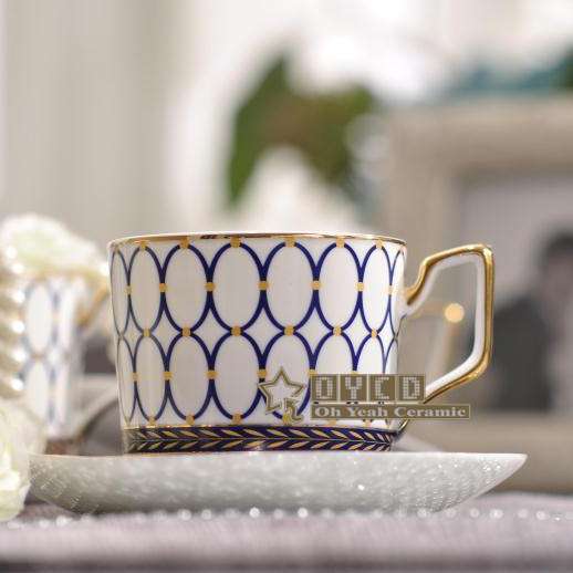 Porcelain coffee cup and saucer super white bone china blue round design coffee cup set one cup & one saucer new product
