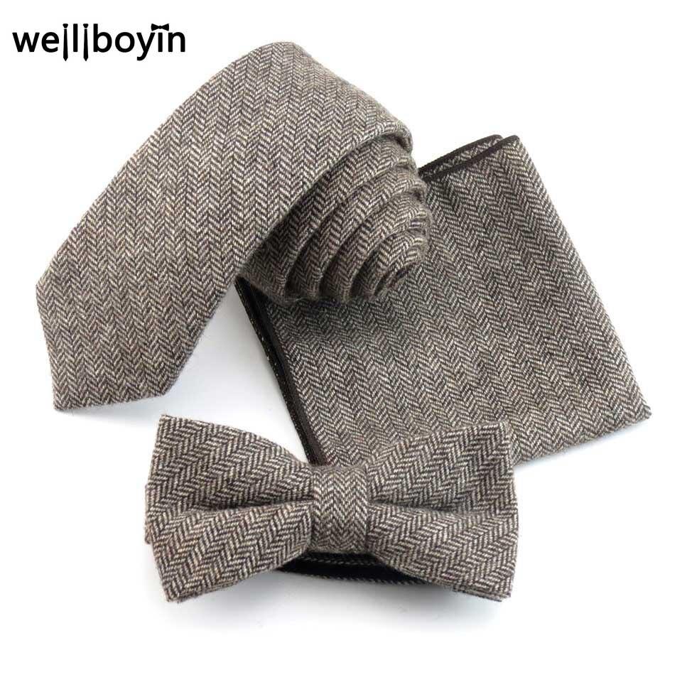 Diplomatisch 6 Cm Feste Krawatte Set 100% Wolle Herren Krawatten Bowtie Einstecktuch Hanky Schlank Krawatten Für Männer Hochzeit Gravata Cravate Pour Homme Bekleidung Zubehör