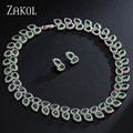 ZAKOL Exquisite Platinum Plated Jewelry Sets For Women Party Pear Imitated Emerald Cubic Zircon Surrounded Jewelry FSSP119