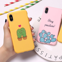 Cute Cactus Lover Love Heart Funny Tropical Girls Soft  Silicone Candy Case Coque For iPhone 6 6S 5S SE 8 8Plus X XS Max 7 7Plus