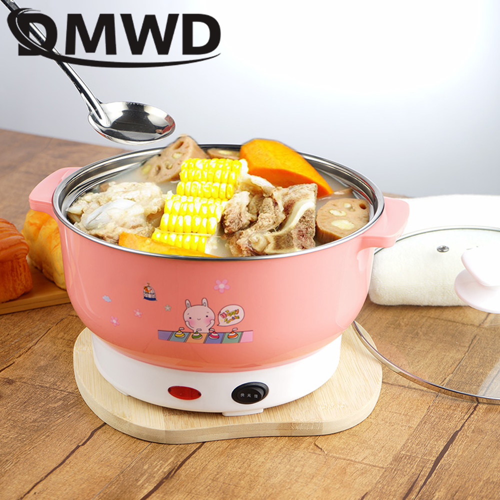 DMWD Multifunctional electric <font><b>cooker</b></font> MINI heating pan Stainless Steel Hotpot noodles rice Steamer Steamed eggs Soup pot 2L EU US