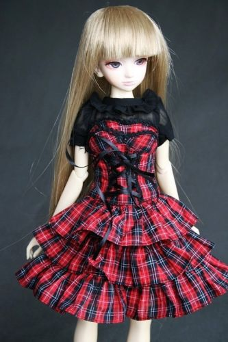 [wamami] 244# Red Plaid Dress/Shirt/Suit 1/3 SD DZ DOD AOD BJD Dollfie [wamami] 05 white clothes shirt blouse 1 3 sd dod bjd dollfie